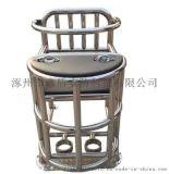 铁质软包讯问椅 钢管审讯桌椅带U型锁