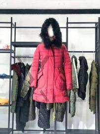 商场常见的女装品牌羽*芮长款羽绒服折扣女装店进货渠道