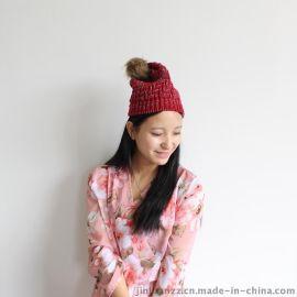 韩版潮冬季大毛球毛线针织帽【金娟针织】