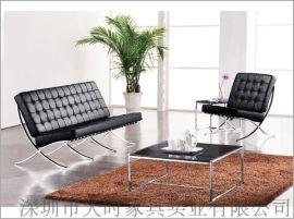 天时办公家具真皮组合沙发 钢架办公沙发