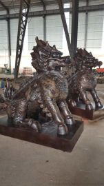 生产大型铜雕麒麟,铸铜麒麟,铜狮子雕塑,动物铜雕塑