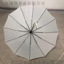 厂家定制纯白色直杆晴雨伞、自动纯色长柄伞定制印刷LOGO