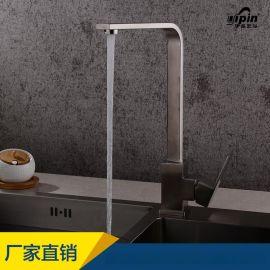 伊品卫浴81003 厨房304不锈钢单孔冷热水方形厨房水龙头