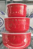 陶瓷瓷器保鮮盒、飯盒批發廠家定制三件套陶瓷 保鮮盒飯盒定做