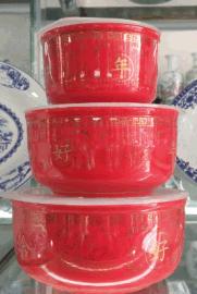 陶瓷瓷器保鲜盒、饭盒批发厂家定制三件套陶瓷 保鲜盒饭盒定做