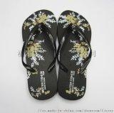 黑色印花夾腳沙灘人字拖鞋定製