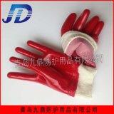 直销红色光面耐油耐酸碱工业罗纹袖口劳保手套工业手部保护耐用