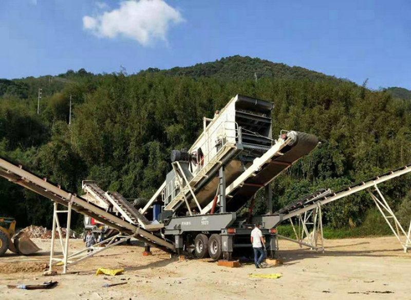 混凝土移動破碎設備石料破碎站 建築垃圾破碎站 移動破碎