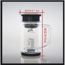 双层玻璃口杯,办公杯-580