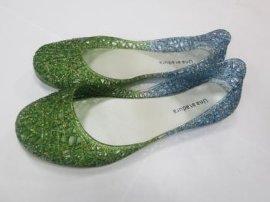拖鞋家居鞋洞洞鞋闪粉金葱粉镂空透气鸟巢女凉鞋双色鞋