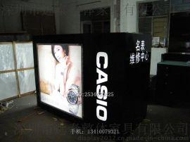 卡西欧手表展柜定做/联系定做黑色玻璃烤漆展柜