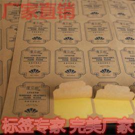 牛皮纸不干胶标签彩色印刷牛皮纸贴纸牛皮纸印刷白牛皮纸不干胶