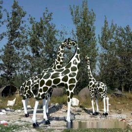 大型商场动物美陈雕塑 玻璃钢长颈鹿雕塑 玻璃钢彩绘动物雕塑定制
