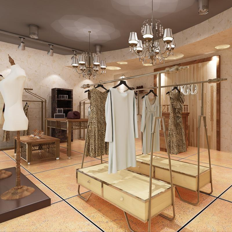 服装展示柜厂家定制领秀不锈钢服装展示架