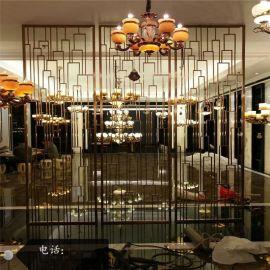 西餐厅钛金蚀刻花纹不锈钢屏风