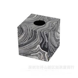 黑色正方形沙纹纹理钢琴烤漆木质纸巾盒欧式创意客厅卧室酒店摆件