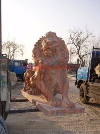 曲阳恒磊雕塑厂定制映霞红狮子雕塑