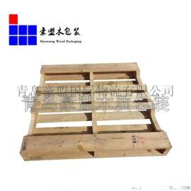 供应青岛木栈板 超市仓储木托 川字形液压叉车木托