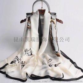 女式时尚休闲丝绸提花可带流苏围巾