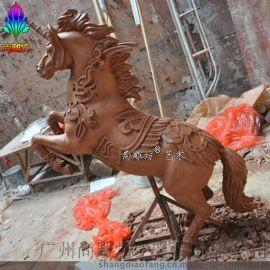 现货雕花马镀金树脂工艺品 玻璃钢马雕塑
