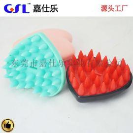 廠家現模 優質矽膠洗頭刷 心型矽膠按摩沐浴刷 沐浴用品