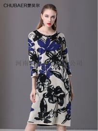 楚貝爾秋棉麻連衣裙長袖民族風寬鬆顯瘦中長繡花打底裙