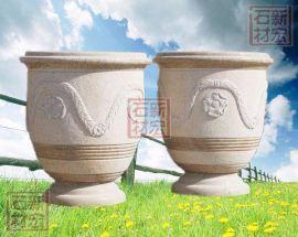 花岗岩石雕花钵花盆(造型多样 园林景观)