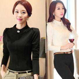 厂家批发定做工作服职业女装时尚优雅修身OL通勤气质简约长袖衬衫