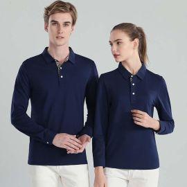 polo衫长袖定制工作服定做工衣装翻领纯色上衣刺绣
