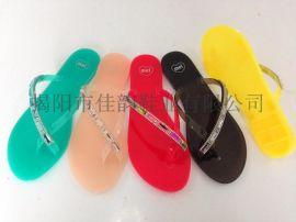 揭阳厂家供应女款单边钻带水晶拖鞋
