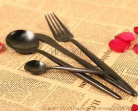 Annie全黑款創意尖尾食具 日韓不鏽鋼刀叉勺