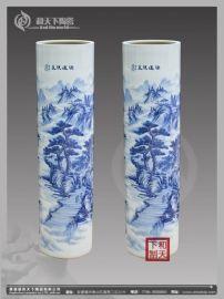 花开富贵陶瓷花瓶 青花手绘摆件 开业礼品