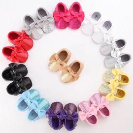 好宝贝GBBA01023pu底亮片蝴蝶结婴儿鞋学步鞋