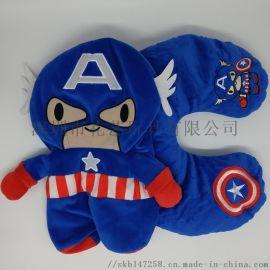 廠家定做打樣美國隊長多功能兩用頸枕毛絨玩具定製