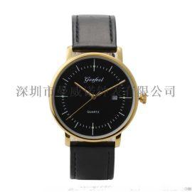 2018年男款  真皮表带30M防水不锈钢石英手表