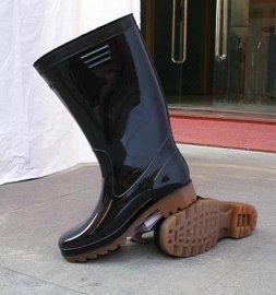 PVC雨鞋、高中筒黑色雨靴(520)