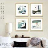 荷之韻新中式畫 現代有框裝飾畫 酒店套房客廳掛畫 沙發臥室背景牆畫