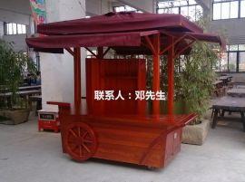 户外商业步行街手推车 木质购物车 防腐木贩烦卖车