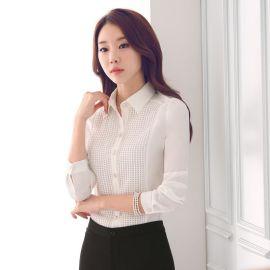 廠家批發春裝新款女裝修身長袖大碼襯衣韓版ol時尚白色職業襯衫