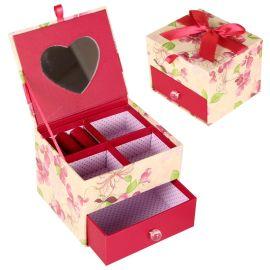 创意家居桌面心形镜礼品抽屉盒饰品收纳盒首饰盒包装纸盒