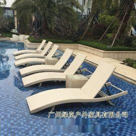 绿岚户外沙滩椅别墅泳池塑料躺椅