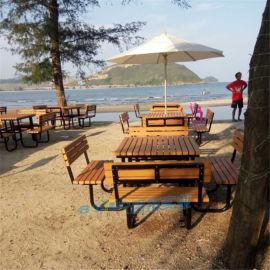 北歐防腐塑木戶外桌椅組合防水室外露天休閒桌椅廠家