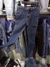 工厂清货牛仔裤厂家清女士弹力小脚裤修身牛仔裤处理