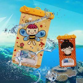卡通手机防水袋 密封阀门夹PVC手机防水套 沙滩游泳潜水一级防水
