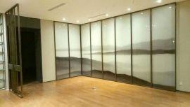 定制夹层超大版山水画超白夹丝玻璃