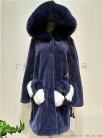 爆款201冬季新款羊剪绒皮草外套一体仿狐狸毛领大衣女中长款大码