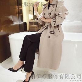 艺素国际杭州品牌折扣女装批发有哪些品牌折扣女装 品牌羽绒服尾货批发深蓝色大衣