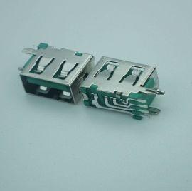 源头工厂产地货源现货2.0AF侧插10.0平口绿胶铁壳USB母座连接器