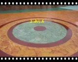 压印地坪价格桓石2017710彩色混凝土压花地坪 公园彩色道路河道两岸观光道路