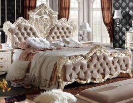 厂家直销 绒布欧式床 高箱婚床 奢华床实木床公主床 1.8米双人床